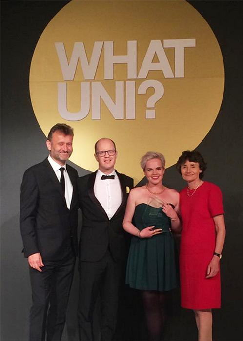 Alex Hardie and Helen Foster, centre, collect the University of the Year runner-up award