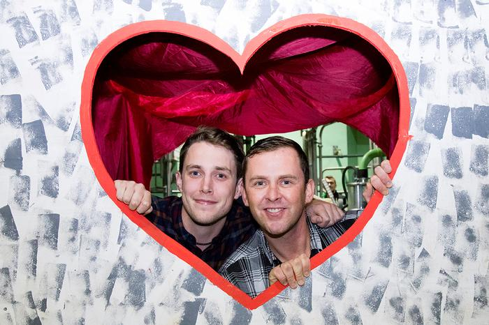 Radio 1 DJs Scott Mills and Chris Stark after the dating game in the Harper Adams milking parlour