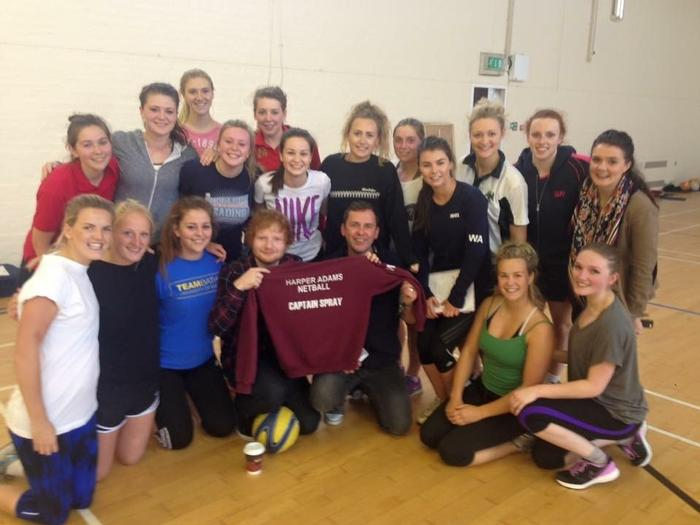 Ed Sheeran and Scott Mills joined in with netball training at Harper Adams University