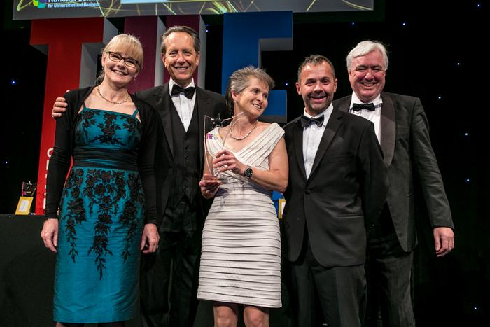 The award was collected from actor Richard E Grant and David Docherty, of award sponsors NCUB, by Fiona Phillips and Adam Braithwate from Dairy Cresy and, centre, Liz Furey, from Harper Adams.