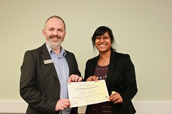 Lecturer Mark Rutter congratulates Priya Motupalli on receiving the Barham Benevolent Foundation scholarship
