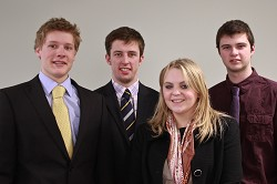Jerman scholars Tom Rouse, Aled John, Catherine Bletcher and Sion Roberts