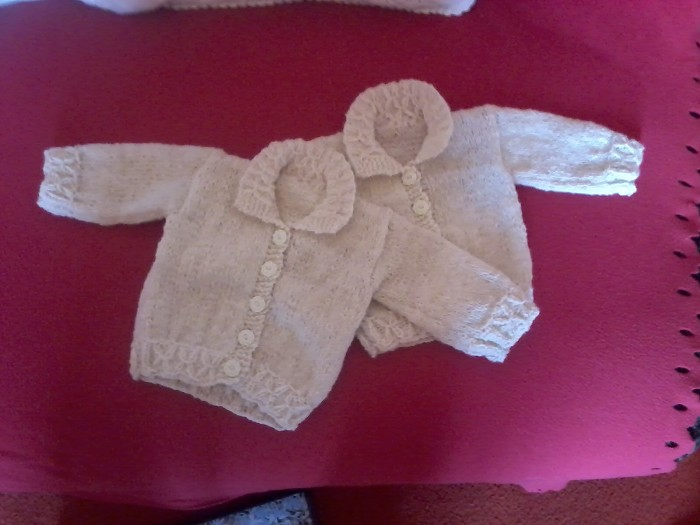 Baby clothes using wool from Cowan fleeces