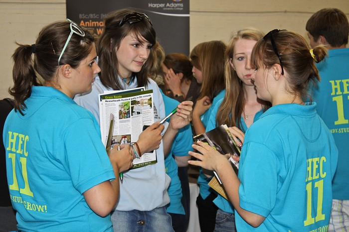 Delegates chat at the careers exhibition