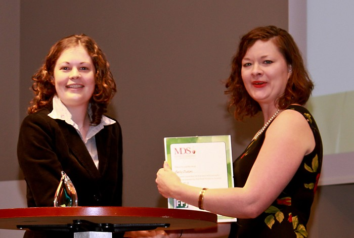 Sally Dutton receives her FPJ Award from Liz O'Keefe