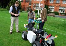 The students test the vehicle with Head of Engineering, Professor Simon Blackmore