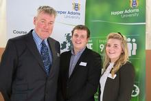 Lecturer Jim Waterson with John Hepworth scholars Ruaridh Maxwell and Kate Spottiswood