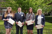 Some of the Aspire Award winners, Katie Fern, Thomas Baines-Sizeland, Adeline Jones and Sophie Bull.