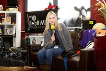 Annabelle on the set of the Scott Mills Student Tour last year