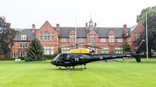The RAF helicopter outside the front of the Main Building