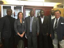 Alison Pyatt and Dr Kayne with senior members of UNAM
