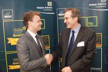 David Lawson Scholarship recipient Chaunce Barrett Crosdil with Dr Alastair Lawson