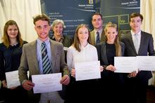 Luke Ormond (second left) with the other Studley College Trust scholars and trustee Margaret Herbert (third left)