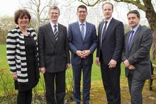 Martine Overdijk,Head of HAS Agri-Business Department, Harper Adams Vice-Chancellor Dr David Llewellyn, HAS University President Dick Pouwels. Prof Wim de Koning and Director of Learning and Teaching Andy Jones