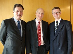 Henry Cator OBE, Chairman of Trustees Royal Agricultural Society of England, Peter L Howell, Rabobank's UK General Manager and Dr David Llewellyn, Principal of Harper Adams