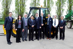 L-R: Feng Weizhe, Associate Dean, International College Beijing, Prof Wang Yihuan, College of Humanities and Development CAU, Prof Brian Revell, Director for International Policy HAUC, Professor Wang Tao, Vice President for International Affairs CAU, Dr David Llewellyn, Principal HAUC, Professor Simon Blackmore, Head of Engineering HAUC, Professor Peter Mills, Vice Principal HAUC, Mr Greg Rowsell, Dept of Engineering HAUC, Prof Han Guocai, College of Animal Science CAU