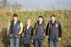 Joe Pask, Sophie Bacon, Charlie Barnes and George Putteril, all members of the Shooting Club committee