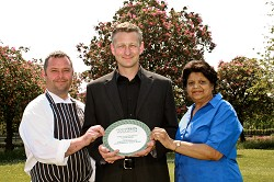 Head Chef Wayne Wright, Catering Manager David Nuttall and Food & Beverage Service Manager Priti Vishwabhan