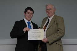 One of many British Poultry Council scholars, James Wilson receives the Kelly Bronze award.