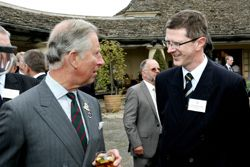 Prince Charles chats to Harper Adams Principal Dr David Llewellyn