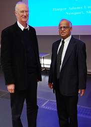 Simon Blackmore, head of the engineering department is pictured with Professor Shrini Upadhaya in the Regional Food Academy Lecture Theatre