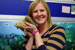Sue Jeavons with bearded dragons Dolce and Gabbana