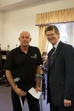 Dave Harding receiving his Aspire Award from Dr David Llewellyn