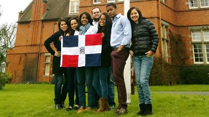 Students from Dominican Republic raise national flag on Independence Day