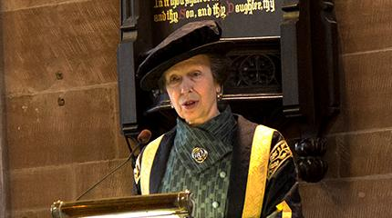 Chancellor, HRH The Princess Royal, gives thanks at university celebration