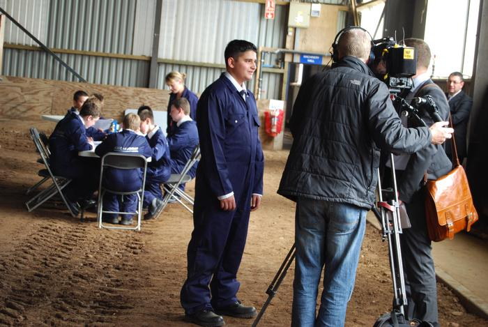 A JCB Academy student gets to grips with an interview