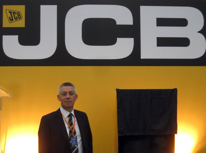 Professor Mills at the JCB plant opening
