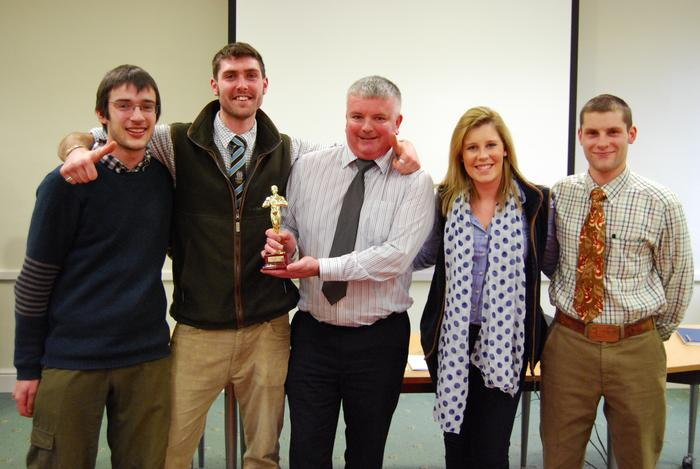 Merlin, second from left, with his winning team and Head of the Crop and Environment Sciences Department, Dr Andy Wilcox