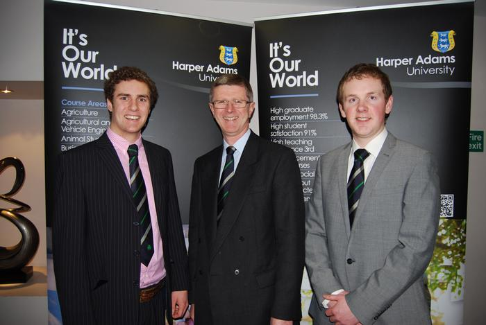 Out-going chairman, Niall Morrow, Harper Adams University Vice-Chancellor, Dr David Llewellyn and incoming chairman, David Thornton