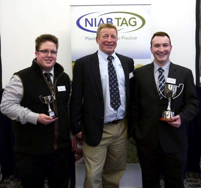 NIAB TAG's Patrick Stephenson congratulates Robert Hosker and Alex McCormack on winning the NIAB TAG Agronomy Cup