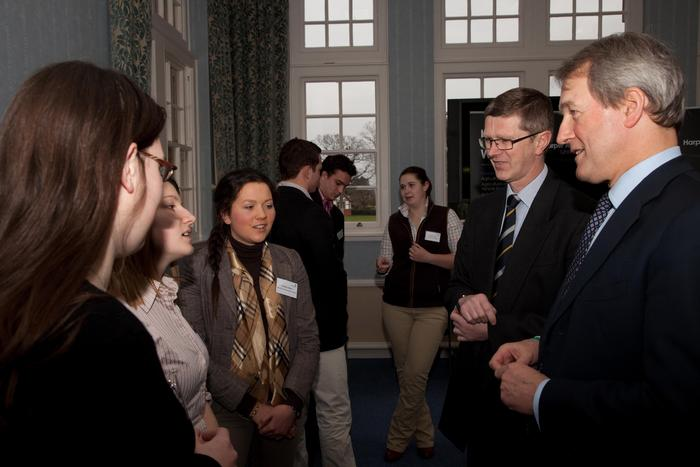 Owen Paterson and Vice-Chancellor Dr David Llewellyn talk with another group of students