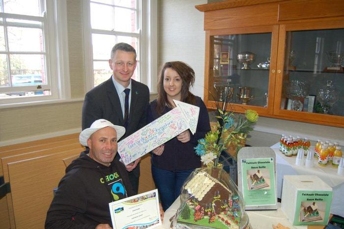 Gerardo Camacho with Harper Adams University's catering manager David Nuttall and student Gemma Thornton