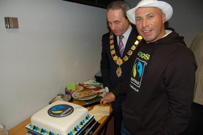 Gerardo Camacho with Shrewsbury's mayor Councillor Keith Roberts at a Fairtrade event at Shirehall in Shrewsbury
