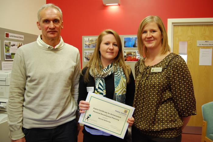 Hannah Battersby, centre, with Dr Paul Rose and Susan Jeavons, Companion Animal House Manager