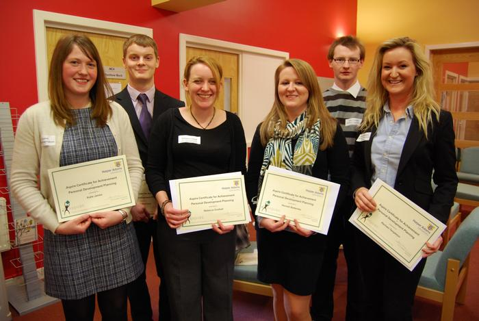 Left to right, Katie James, Phil Robinson, Rebecca Crothall, Hannah Battersby, Jamie Venables, and Rachael Templeton