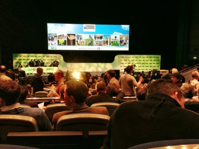 The view from where Ben was sitting during the NFU conference.