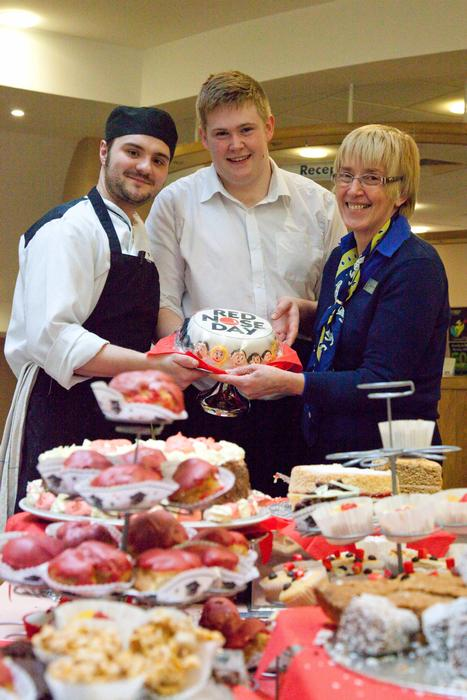 Left to right, James Chapman, sous chef, Jake Cooper, catering placement student, and Jenny David, catering administrator