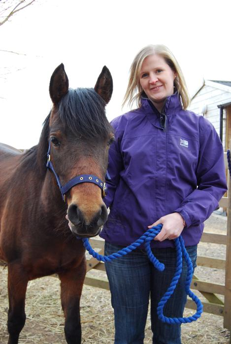 Sue Jeavons pictured with the university's new rescue pony, Star.