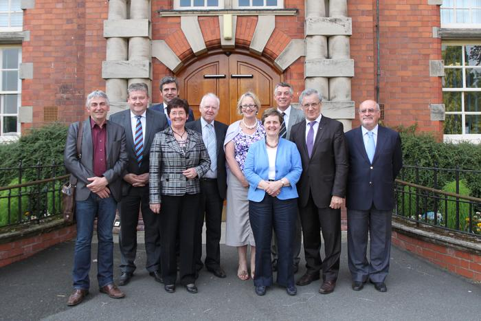 The MEPs pictured with Professor Peter Mills, Deputy Vice-Chancellor