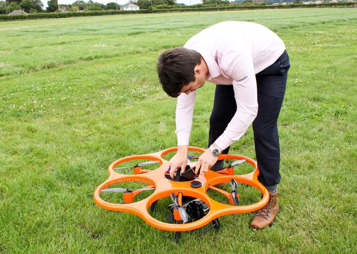 Sion Rowlands prepares the Aibot X6 hexacopter for take-off