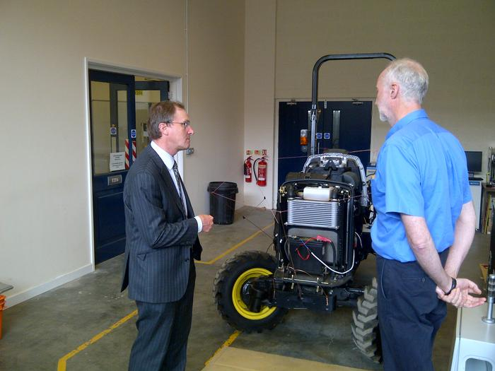 Professors Boyd and Blackmore discuss progress with development of the Defra-funded automated orchard vehicle