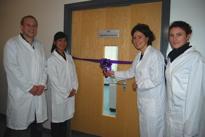 Rob, Fittonia, Tijana and Isobel prepare to open the laboratory