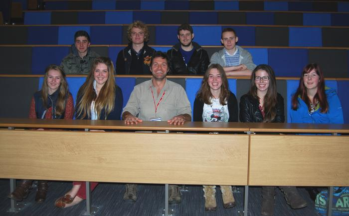 Steve gets to grips with the new lecture theatre, pictured with the wildlife students