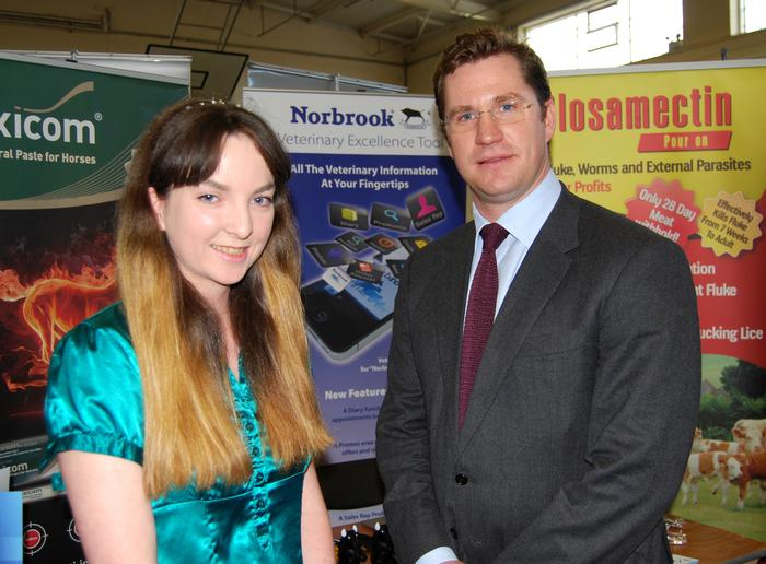 Director of Norbrook Laboratories Ltd, Edward Haughey, (right) with final year student Niamh Dooley, who did her placement year with the company.
