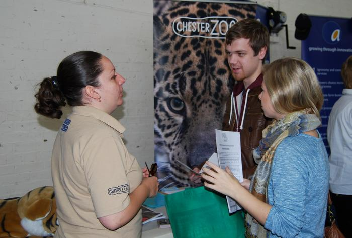 Liz Ball from Chester Zoo talks to students about the opportunities on offer.