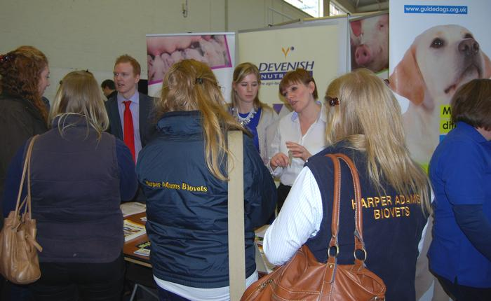 Students take the opportunity to talk to companies exhibiting.